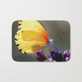 Yellow butterfly Bath Mat