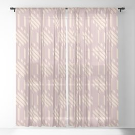 Imperfect Geometric Stripes Pattern Beige Sheer Curtain