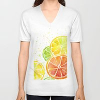 fruit V-neck T-shirts featuring Fruit Watercolor by Olechka