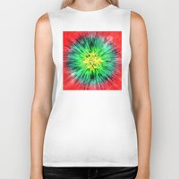tie dye Biker Tanks featuring Colorful Vintage Tie Dye by Phil Perkins