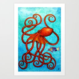Distracted - Octopus and fish Art Print