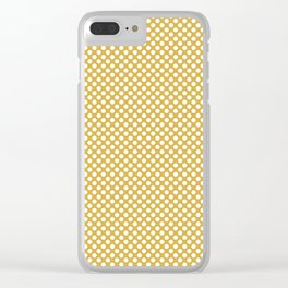 Spicy Mustard and White Polka Dots Clear iPhone Case