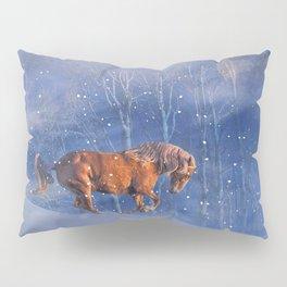 Christmas Horse in the Snow, Running Winter Horses Scene Pillow Sham