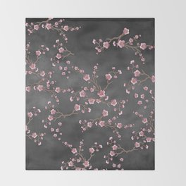 SAKURA LOVE - GRUNGE BLACK Throw Blanket