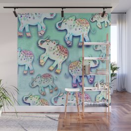 ELEPHANT PARTY MINT Wall Mural