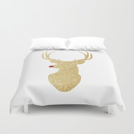 Rudolph The Red-Nosed Reindeer | Gold Glitter Duvet Cover