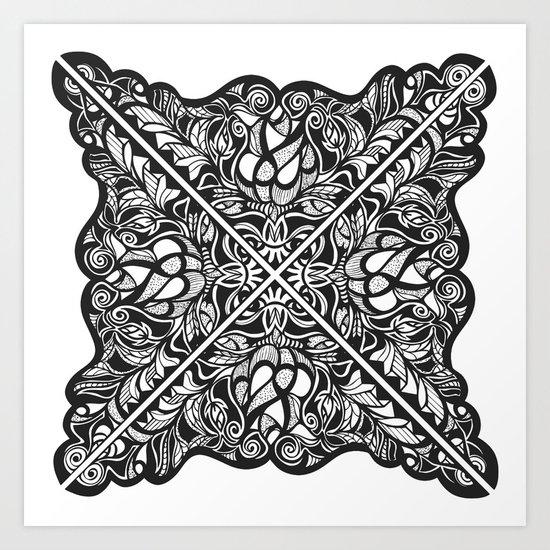 Black Lotus Lace Illustration Pattern Art Print