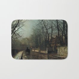 John Atkinson Grimshaw - A wet Moon, Putney Road - Victorian Retro Vintage Painting Bath Mat