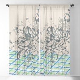 Flowers at the framhouse cafe -line drawing leaves #6 Sheer Curtain