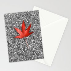 red autumn leaf Stationery Cards