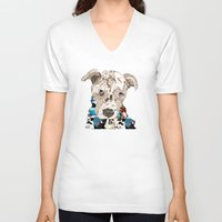 pit bull V-neck T-shirts featuring a pit bull day by bri.buckley
