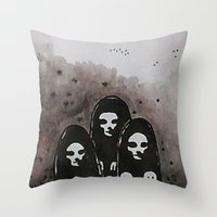 coven Throw Pillows featuring Coven by slakjawdyokel