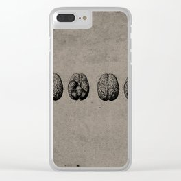 Row o' Brains - Engraving - Vintage - Old Black, White & Brown Clear iPhone Case