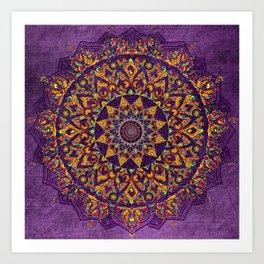 Mandala Purple Zen Spiritual Bohemian Hippie Indian Yoga Mantra Meditation Art Print