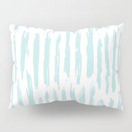 Vertical Dash Stripes Succulent Blue and White Pillow Sham