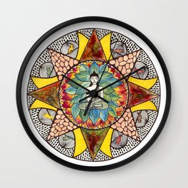 Zen and Feathers Wall Clock
