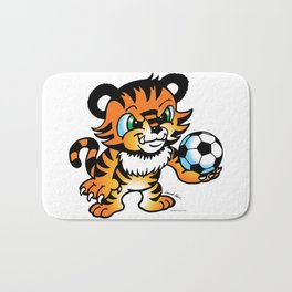 Soccer Tiger (color) square Bath Mat