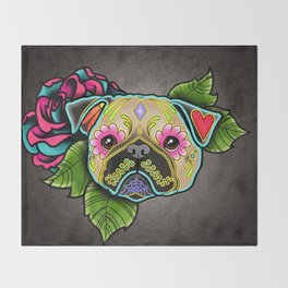 Pug in Fawn - Day of the Dead Sugar Skull Dog Throw Blanket