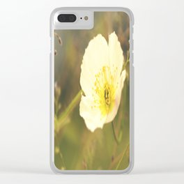 White Poppy On A Green Background #decor #society6 Clear iPhone Case