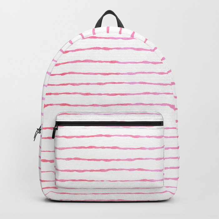 fine pink handpainted stripes on clear white Backpack