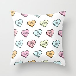 Sassy Valentines Candy Heart Pattern Throw Pillow