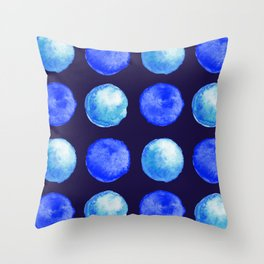 Winter Blue Watercolor Large Dots Pattern Throw Pillow