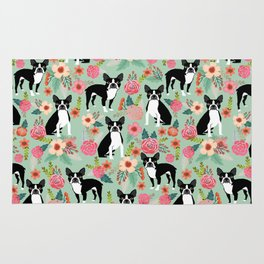 Boston Terrier florals dog breed pattern must have pupper gifts dog lovers Rug