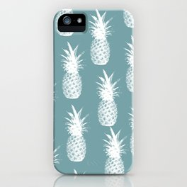 Pineapple Pattern - Blue Background iPhone Case