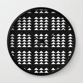 Tribal Triangles in Black and White Wall Clock
