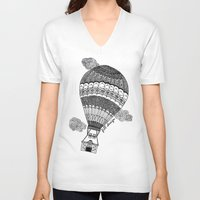 baloon V-neck T-shirts featuring Hot Air Baloon by Fill Design by mervegokdere