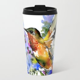 Alen's Hummingbird and Blue Flowers Travel Mug