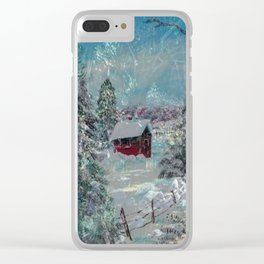 """""""Cabin In The Snow"""" Clear iPhone Case"""