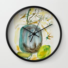 Flower, Lemon and Book's Composition Wall Clock