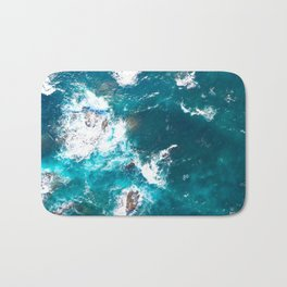 Turquoise sea, ocean, coast, Atlantic, Portugal, beach, waves, sea, prints, project, blue, Bath Mat