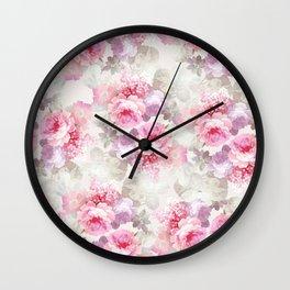 Elegant blush pink lavender ivory romantic roses floral Wall Clock