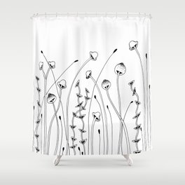 Forest of Mushrooms Doodle Art Shower Curtain
