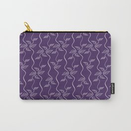 Line art leaves pattern on purple background. Carry-All Pouch