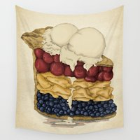 pie Wall Tapestries featuring American Pie by Megs stuff
