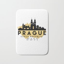 PRAGUE CZECH REPUBLIC SILHOUETTE SKYLINE MAP ART Bath Mat