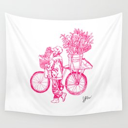 Bicycle Flower Seller in Hanoi Wall Tapestry