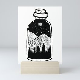Nature in a bottle, moon, stars, mountains, trees Mini Art Print