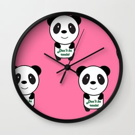Don't be racist panda Wall Clock