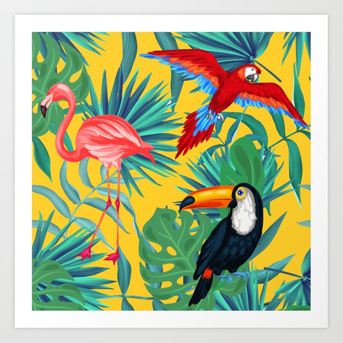 tropical yellow Art Print