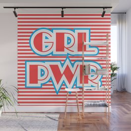 GRL PWR, Girl Power (red version) Wall Mural