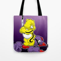 kill bill Tote Bags featuring Kill Bill Bear by Andrew Mark Hunter