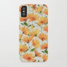 Painted Radiant Orange Daisies on off-white iPhone X Slim Case
