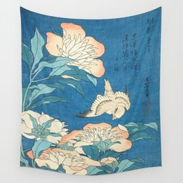 Japanese Flowers Turquoise Peach Wall Tapestry