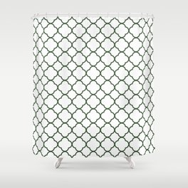 Green, Pine: Quatrefoil Clover Pattern Shower Curtain