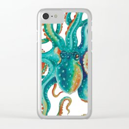 Octopus Tentacles Teal Green Watercolor Art Clear iPhone Case