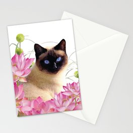 Siam Cat with pink Lotus Flower Blossoms Stationery Cards
